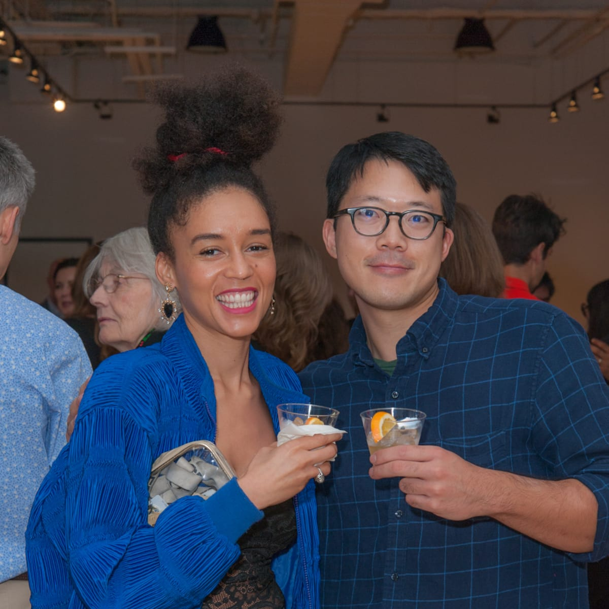 News, DiverseWorks MATCH party, Dec. 2015 Danielle Dean, Kenneth Tam