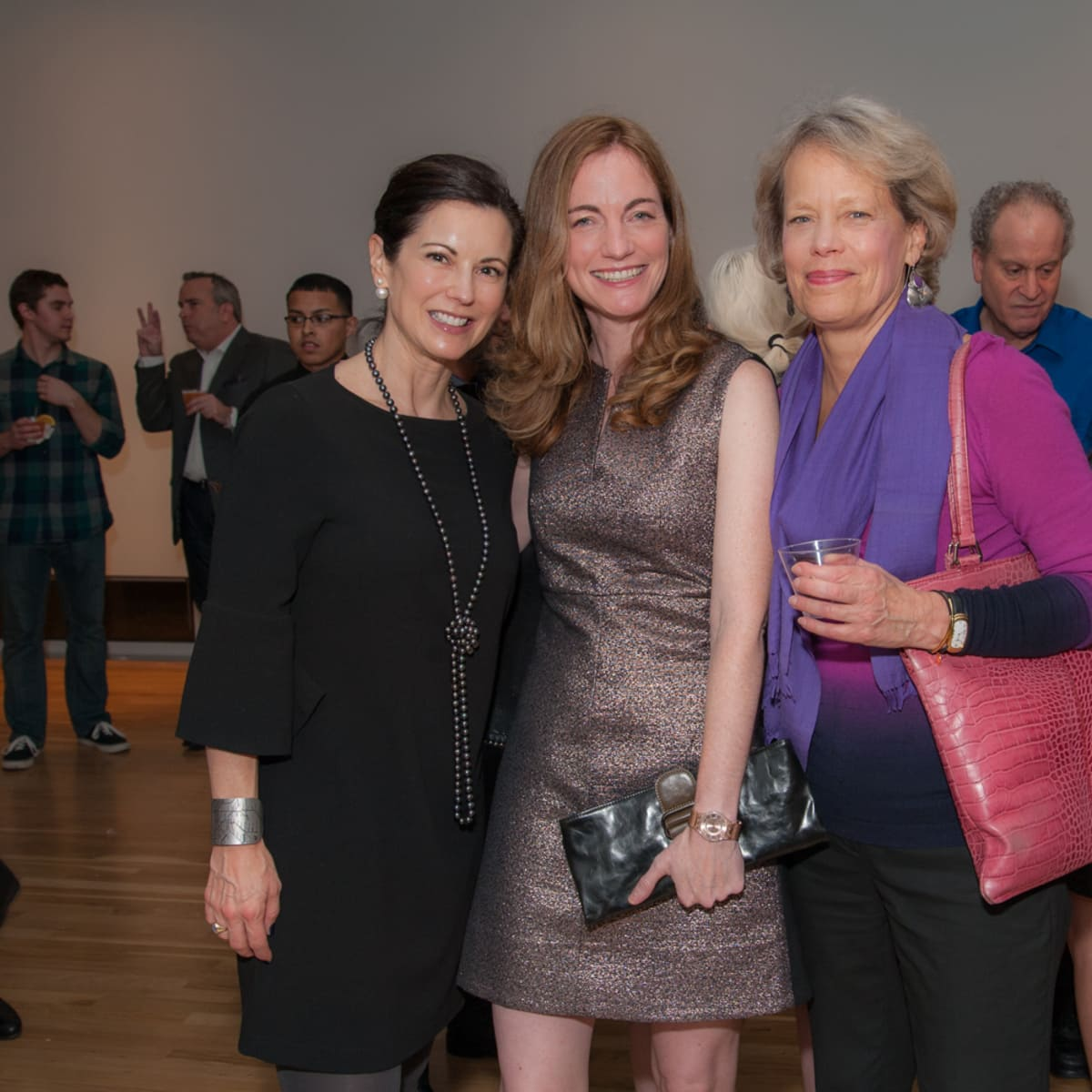 News, DiverseWorks MATCH party, Dec. 2015 Jennifer Koller, Allison Hunter, Nancy Cook