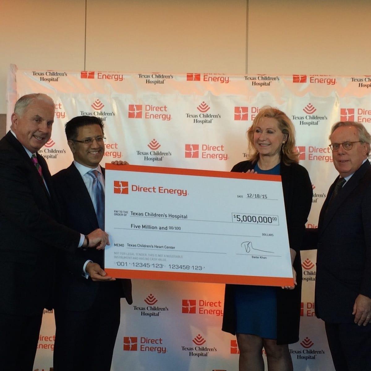 Direct Energy gift to Texas Children's Hospital, Mark Wallace,Badar Khan, Carol Linn, Michael Linn