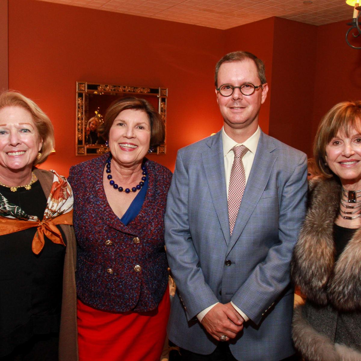 News, HGO Tea, Dec. 2015, Eileen Hricik, Robin Angly, Scott Ipsen, Donna Josey Chapman