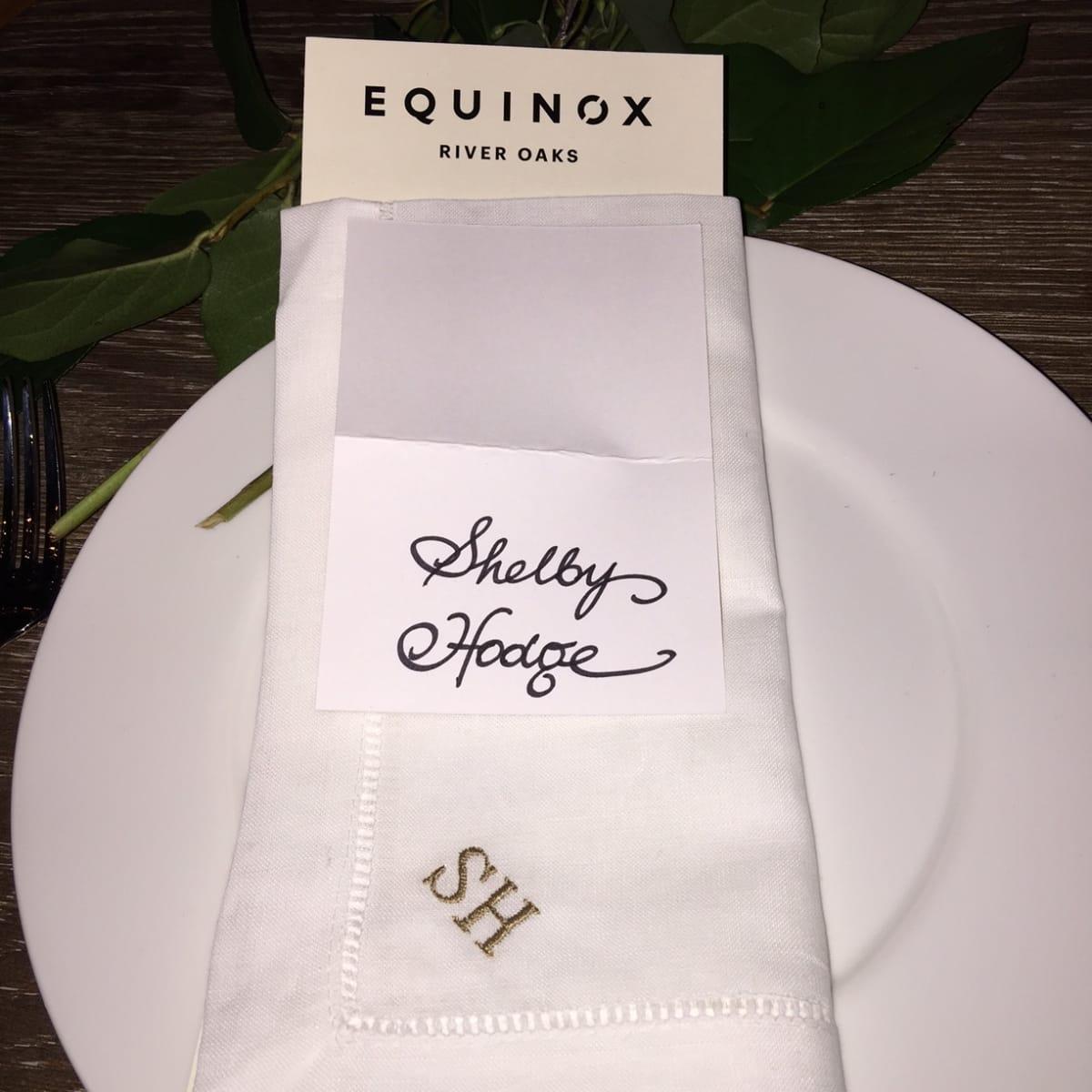 News, Equinox Opening Dinner, Dec. 2015, monogramed napkins