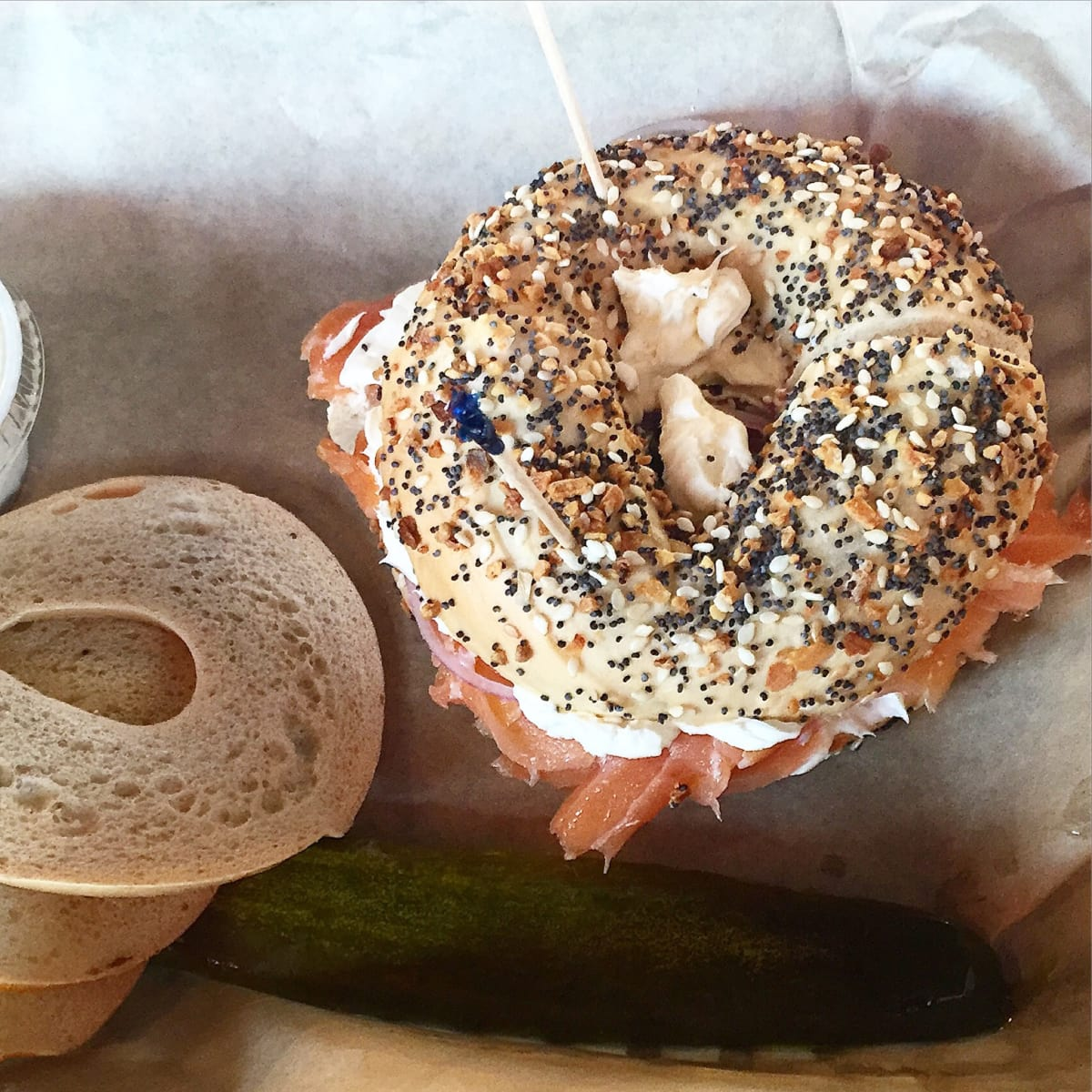 Toasted bagel and lox
