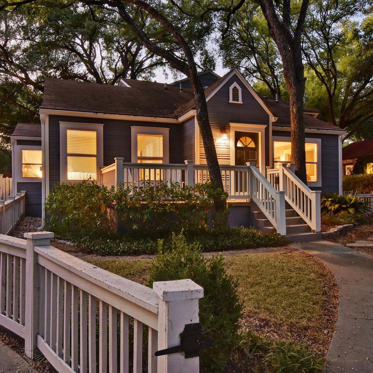 West Austin home house 2200 Sharon Lane exterior front driveway