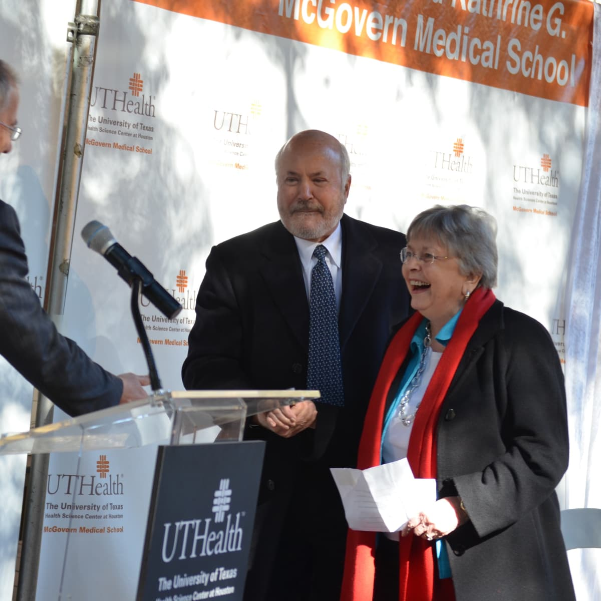 News, Shelby, McGovern Medical School unveiling, Nov. 2015,  Dr. Giuseppe Colasurdo, Bill Shrader, Kathrine McGovern