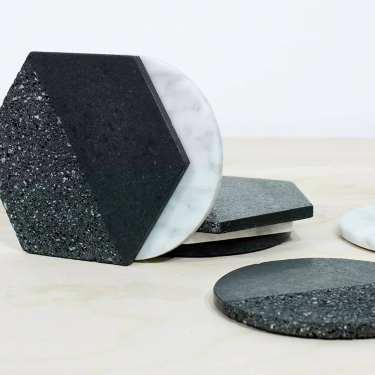Volcanic rock and marble coasters from The Citizenry
