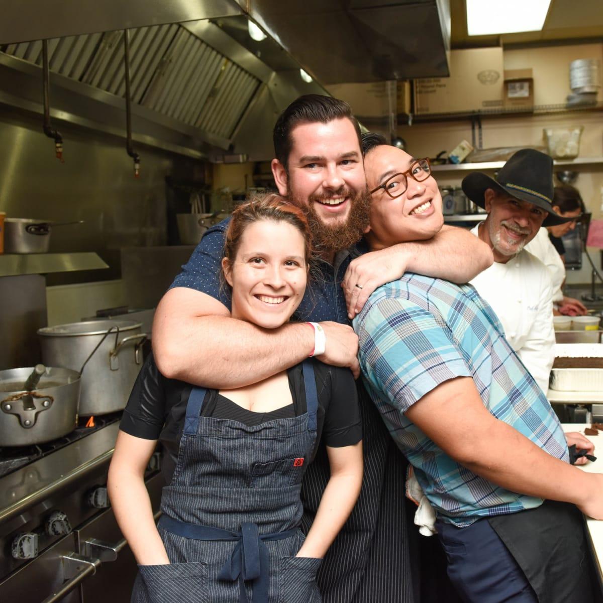 Urban Harvest dinner Sarah Schnitzer, Adam Dorris, Justin Yu, Ara Malekian