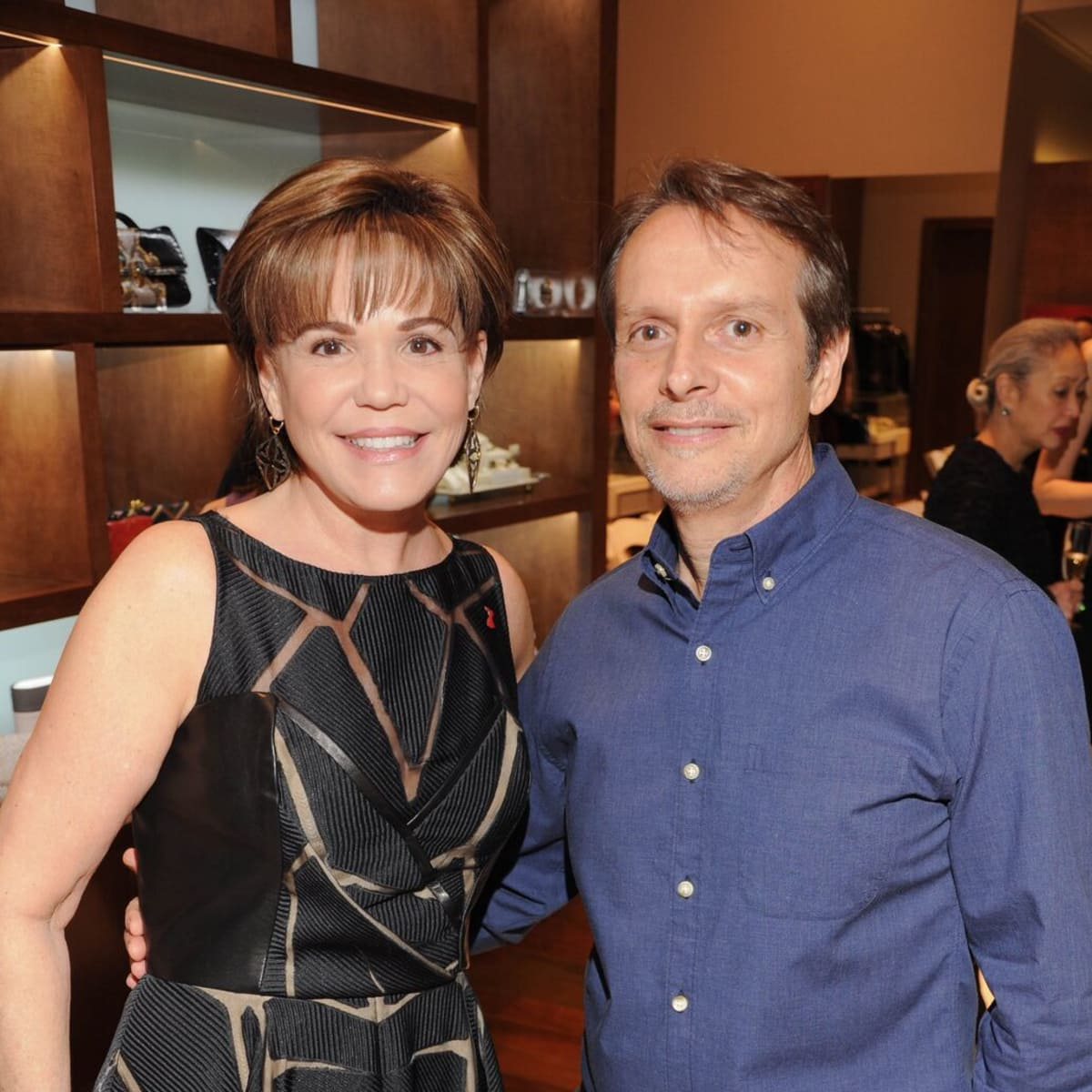 Hallie Vanderhider and Liancarlo designer Carlos Ramirez at American Heart Association show at Elizabeth Anthony