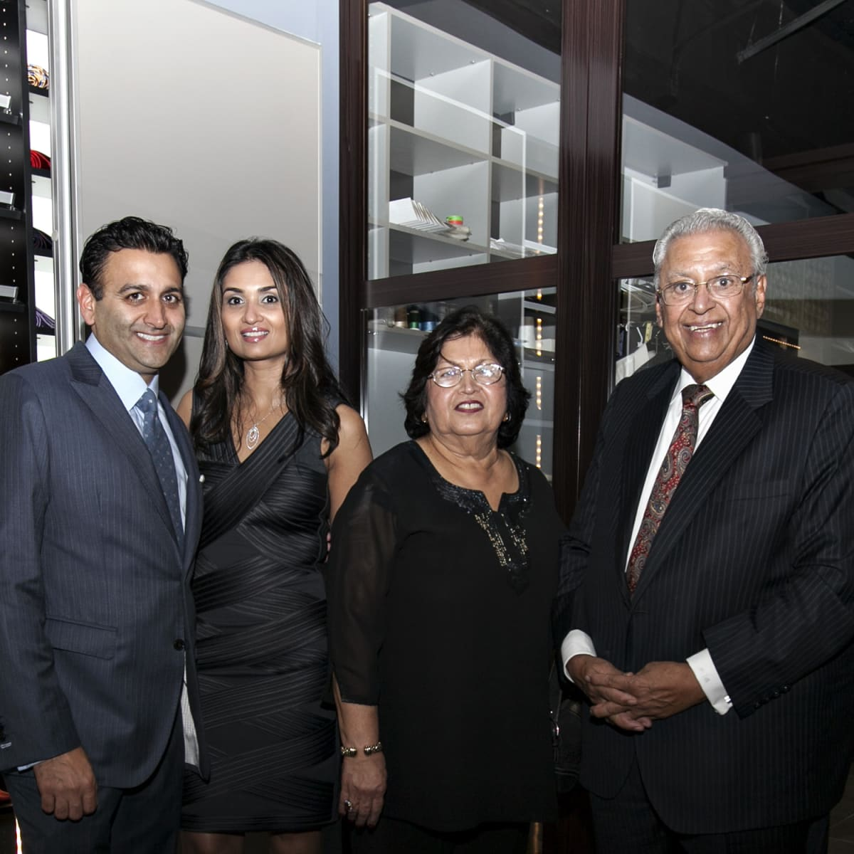 News, Shelby, Balani Opening, Nov. 2015, Sonny and Sheetal Balani, Neena and Peter Balani