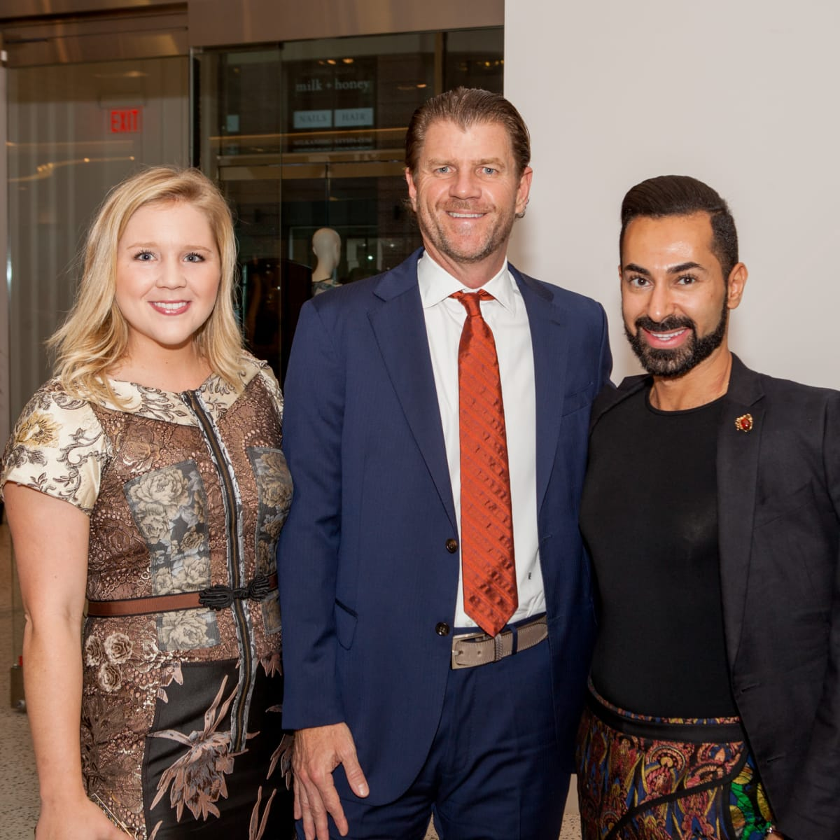 Ginger Baldwin, Bill Baldwin, Fady Armanious at Heart of Fashion kickoff party