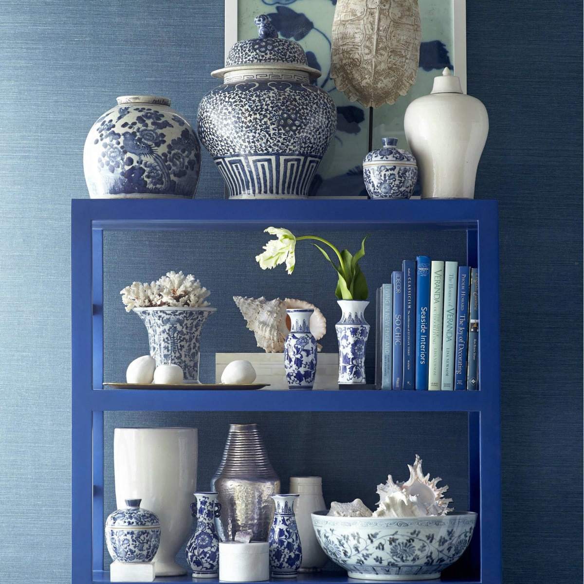 Bookshelf vignette from Wisteria