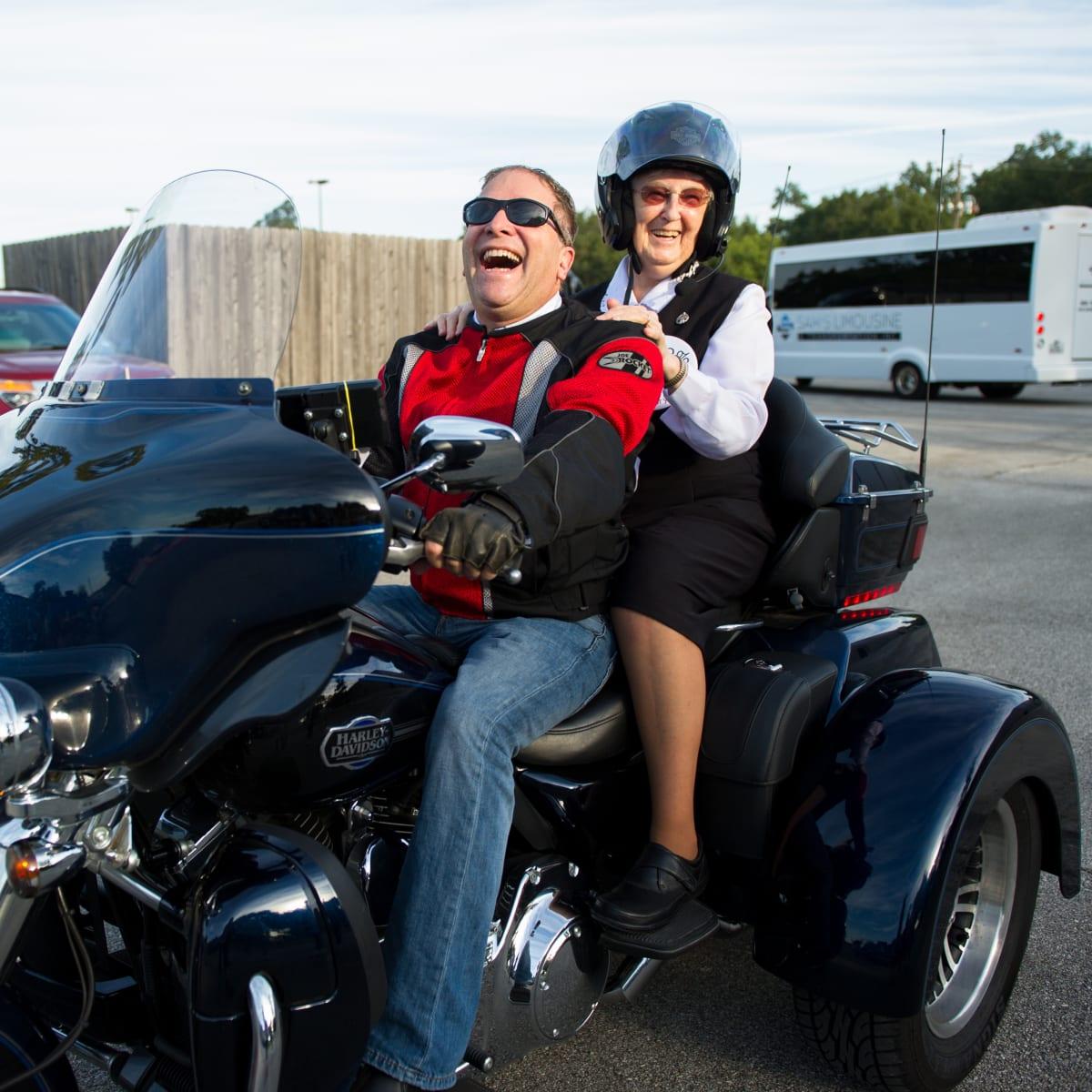 Christus Nun Run Motorcycle rider and nun