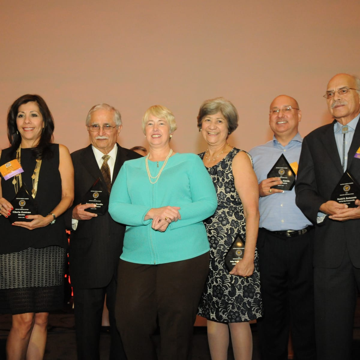 News, Shelby, Mayor's Hispanic Heritage Awards, Oct. 2015, James Lee, Gloria Zenteno, Jose Adan Trevino, Mayor Annise Parker,  Josefina Rendon, Gilbert Garcia, Daniel Bustamante