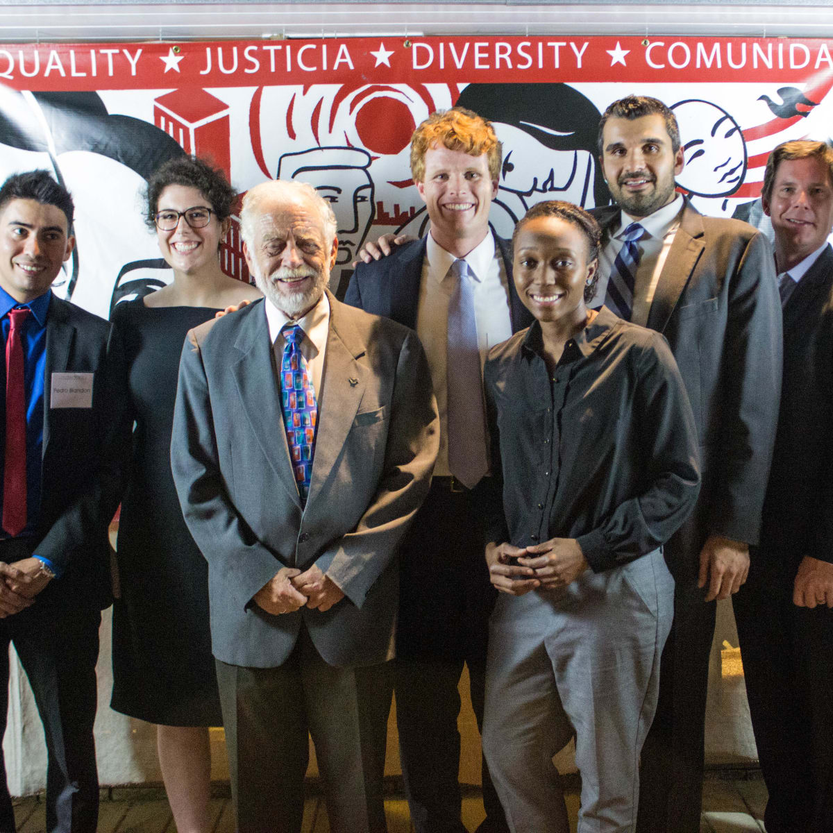 Texas Civil Rights Project fundraiser Pedro Blandon,   Wallis Nader,                 Jim Harrington,                Joe Kennedy III                Porscha Brown,  Amin Alehashem , Kyle Wright