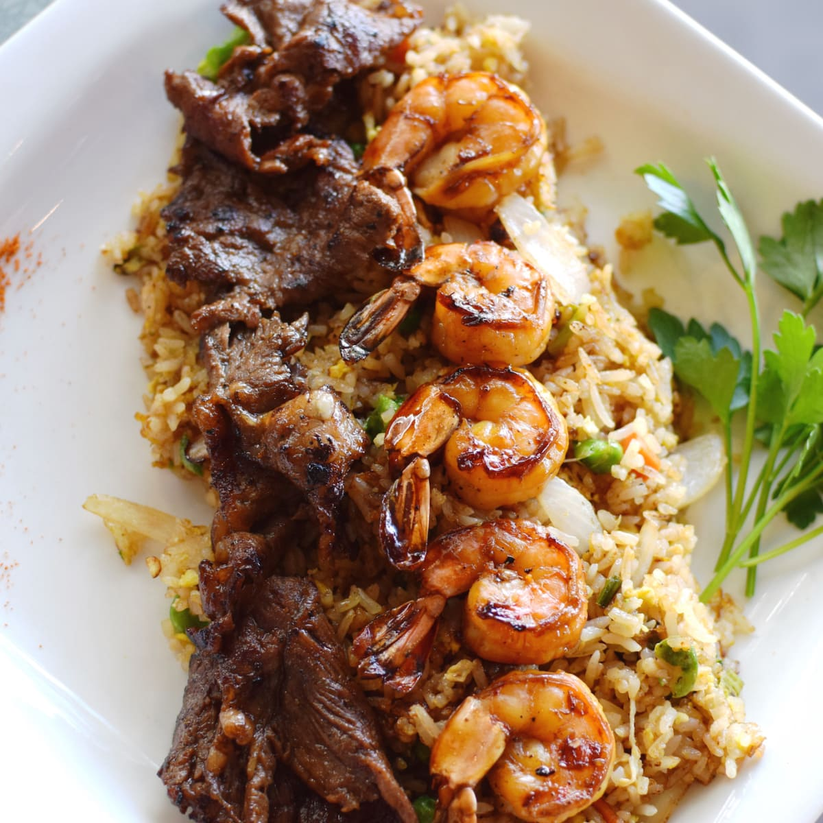 Saigon House stir fried rice with shrimp and steak