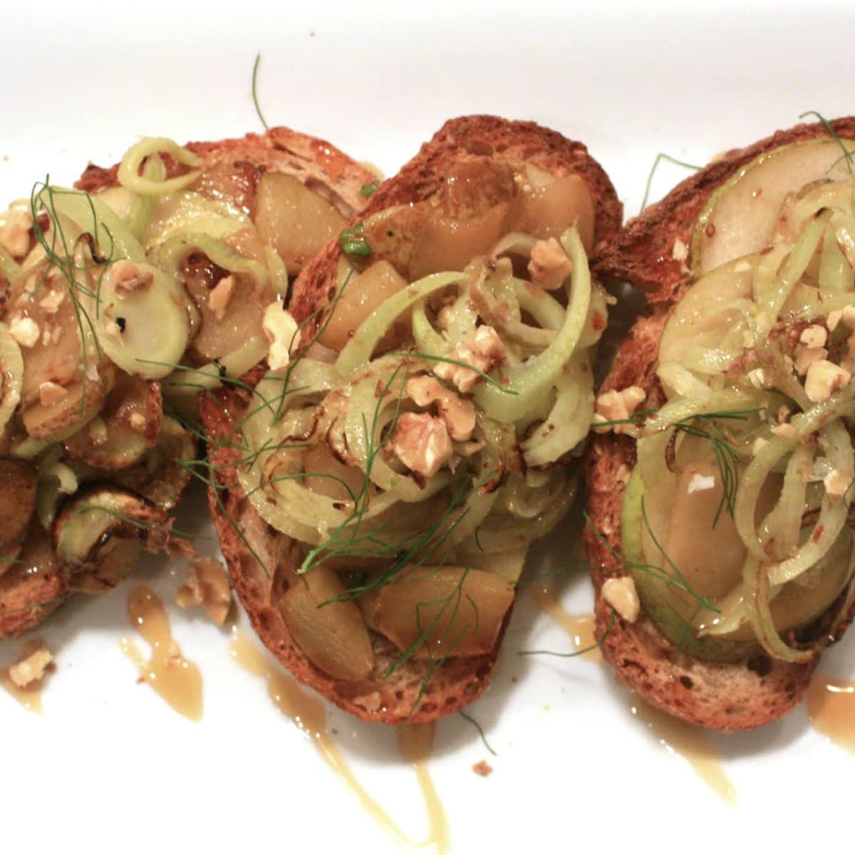 Erin O'Leary Stewart pear fennel tartine