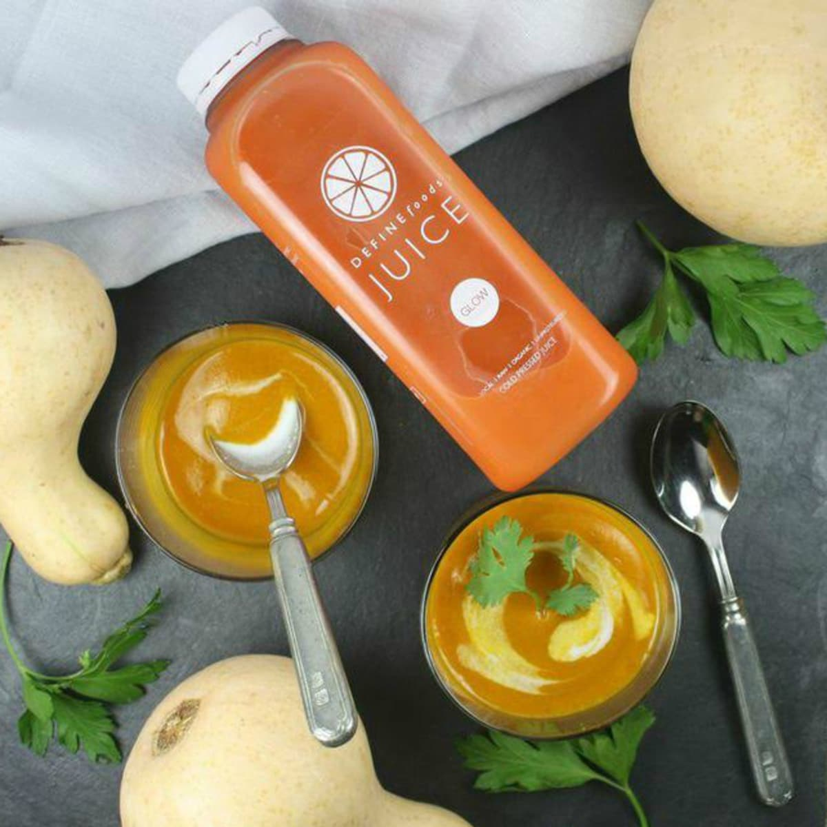 Erin O'Leary Stewart curried fall soup DEFINE foods GLOW juice