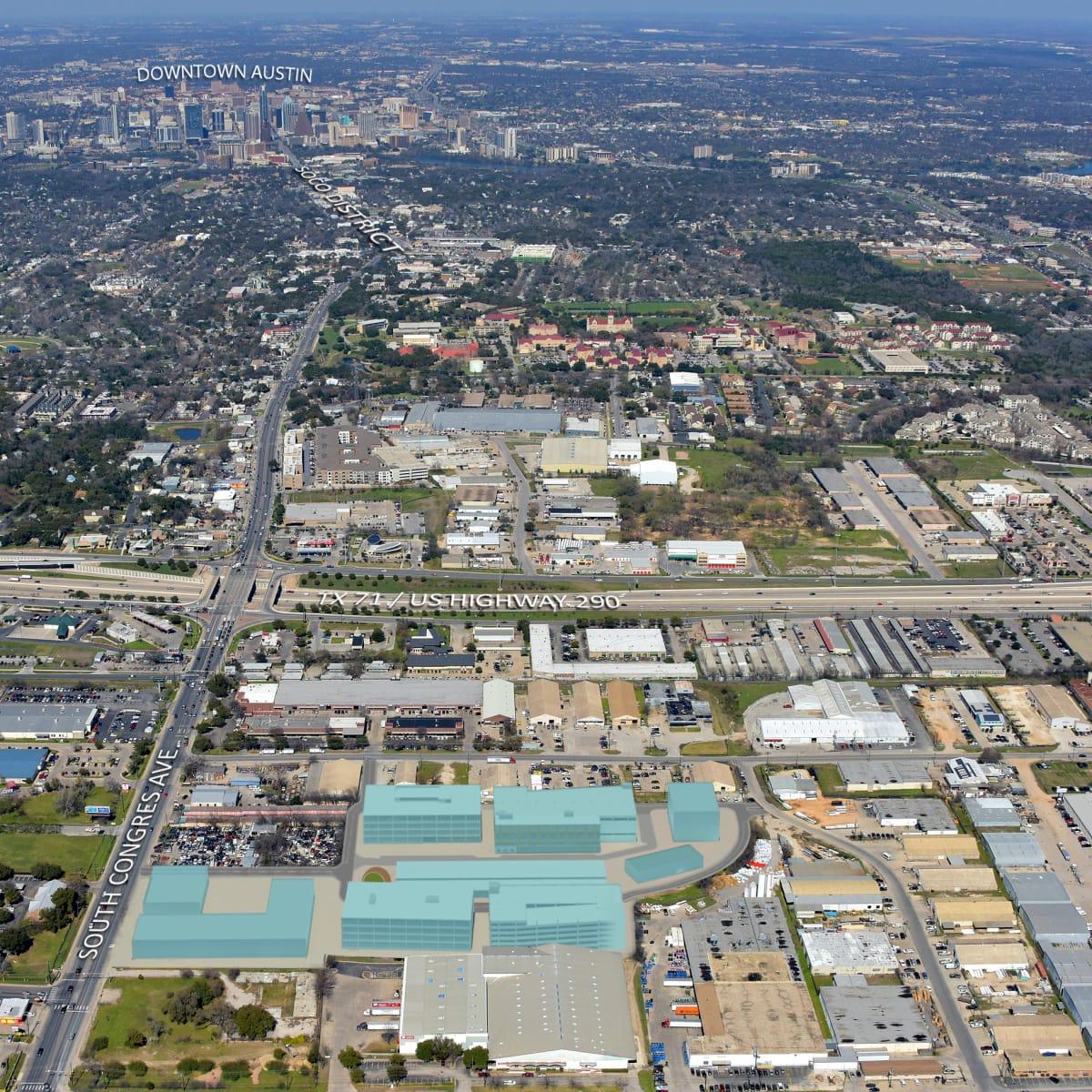 Saint Elmo Public Market rendering South Austin aerial map 2015