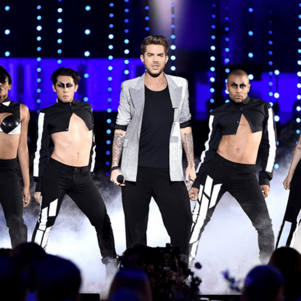 Adam Lambert dancers wearing Cesar Galindo costumes