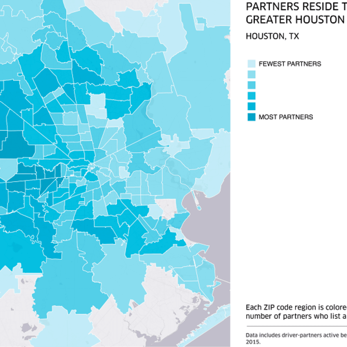 Houston, Uber, August 2015, where Uber partners reside graph