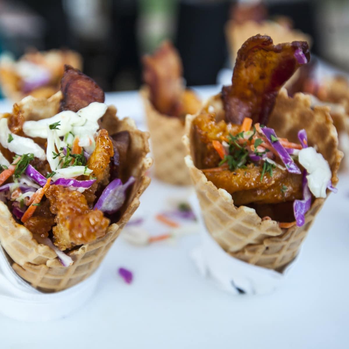 La Dolce Vita Food and Wine Festival The Contemporary Austin chicken waffle cone sample 2014
