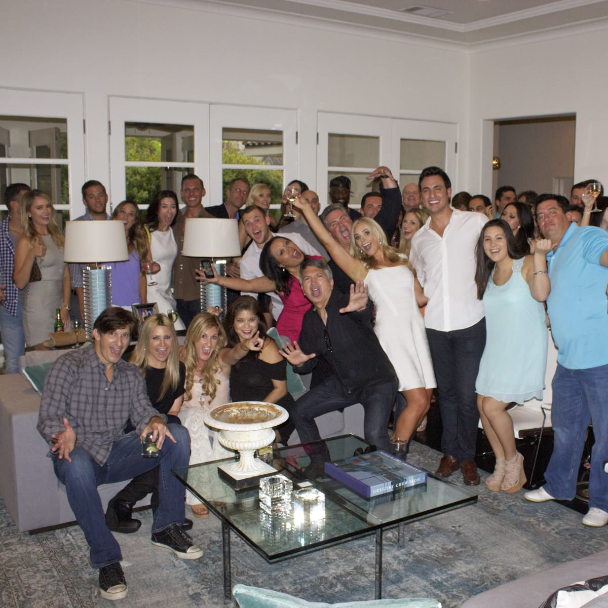 Houston, Chita Johnson engagement party, July 2015, group photo
