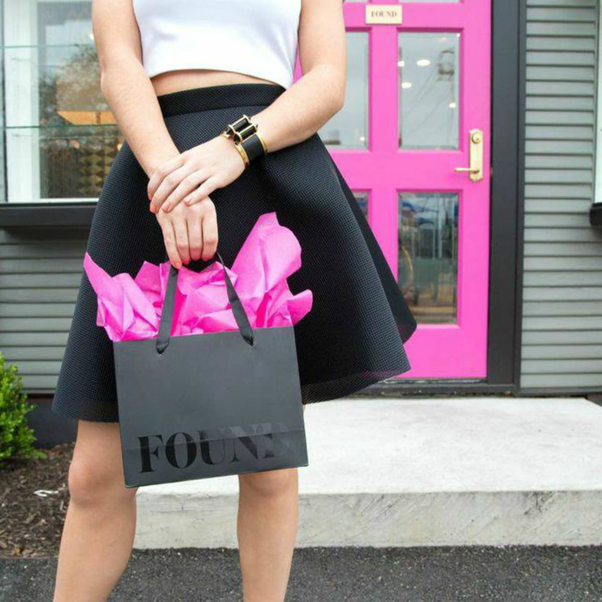 FOUND Austin store exterior pink door shopping bag 2015
