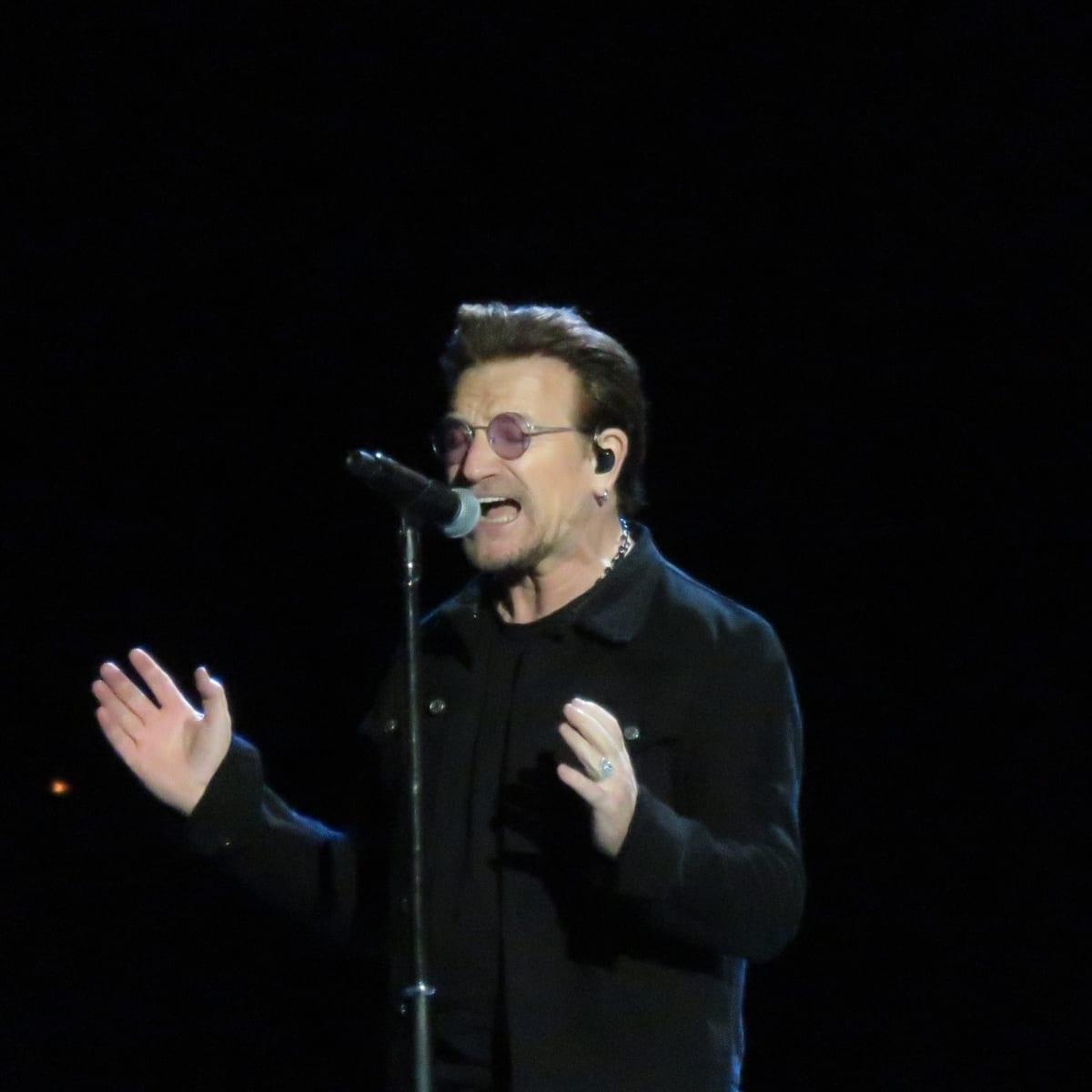 Bono at U2 concert at NRG stadium