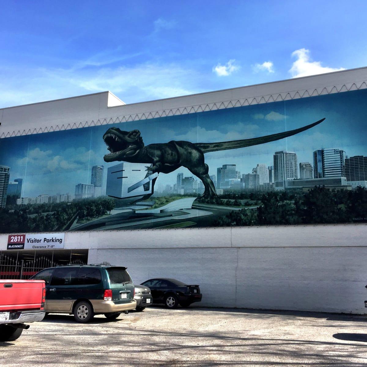 Dinosaur mural in Dallas, artist unknown