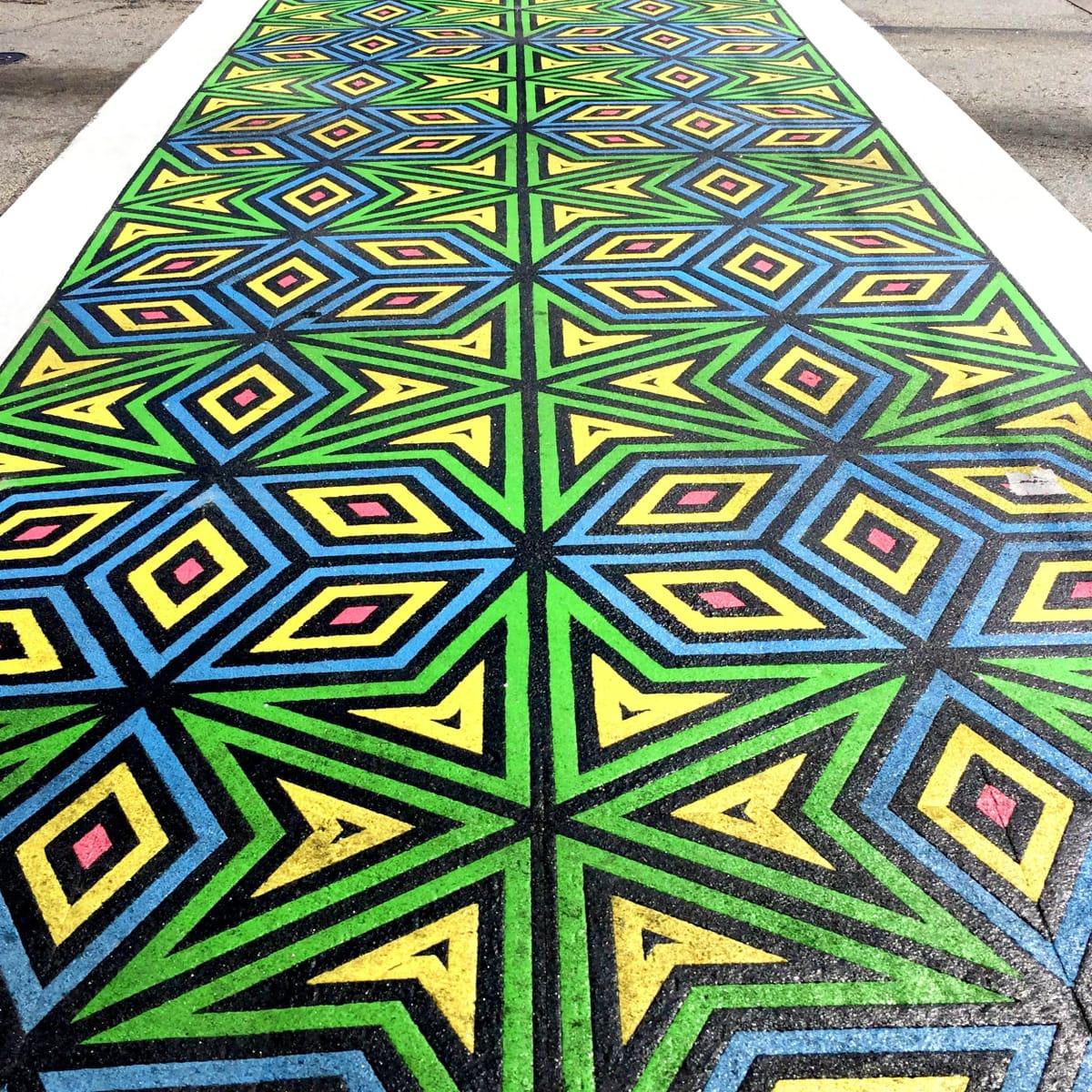 Unicorn Art Theory crosswalk in Uptown Dallas