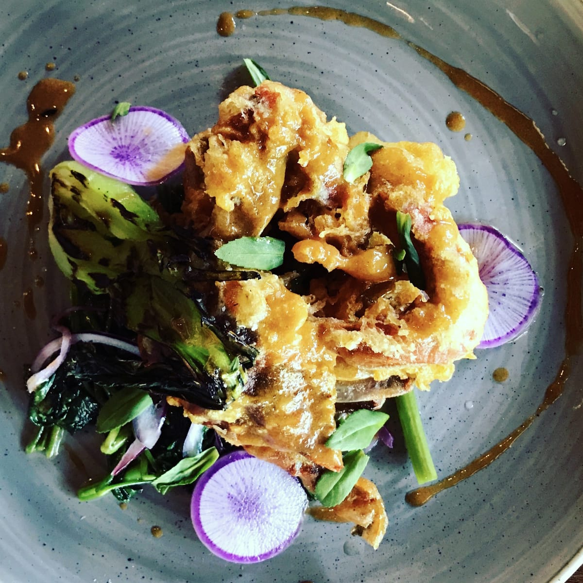 Houston, soft shell crab dishes, June 2017, Riel