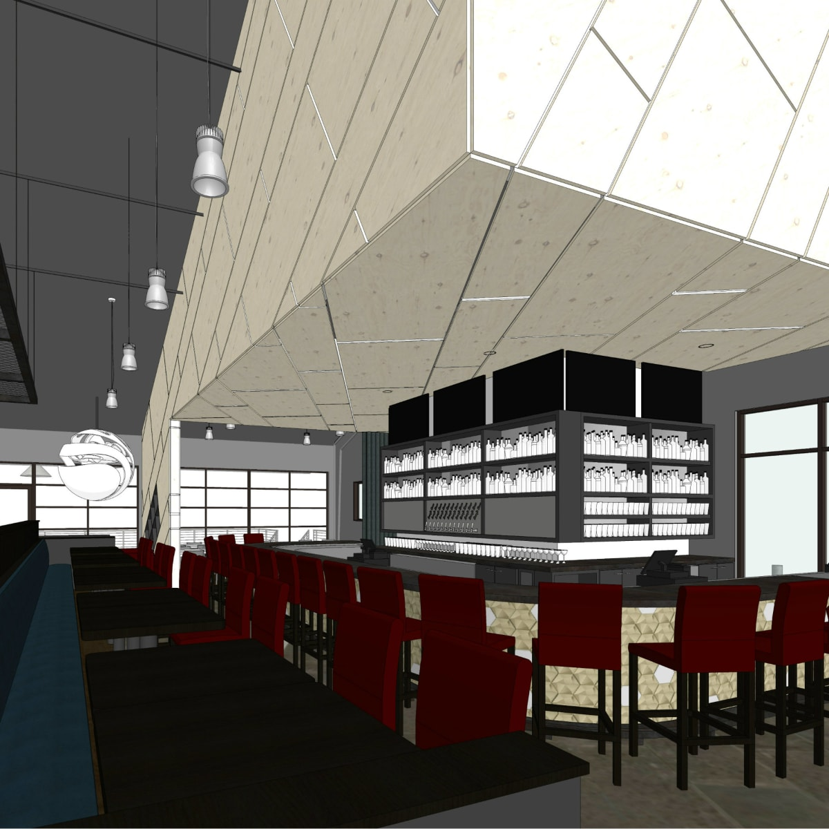Rendering of Poitin interior bar area