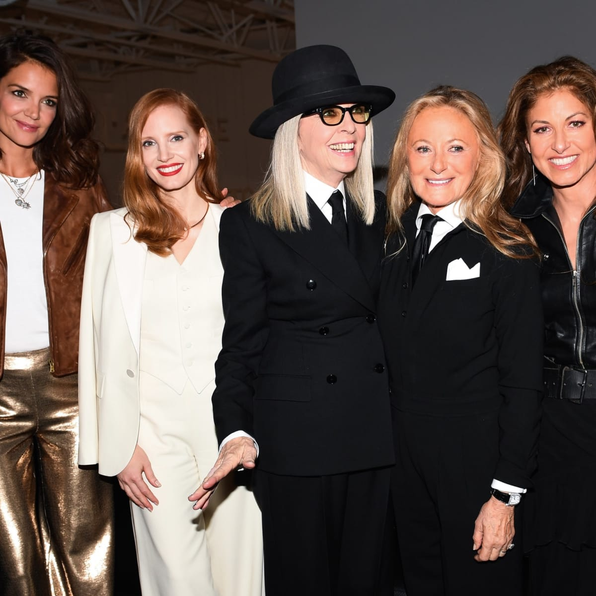 Katie Holmes, Jessica Chastain, Diane Keaton, Ricky Lauren, Dylan Lauren at Ralph Lauren spring 2018