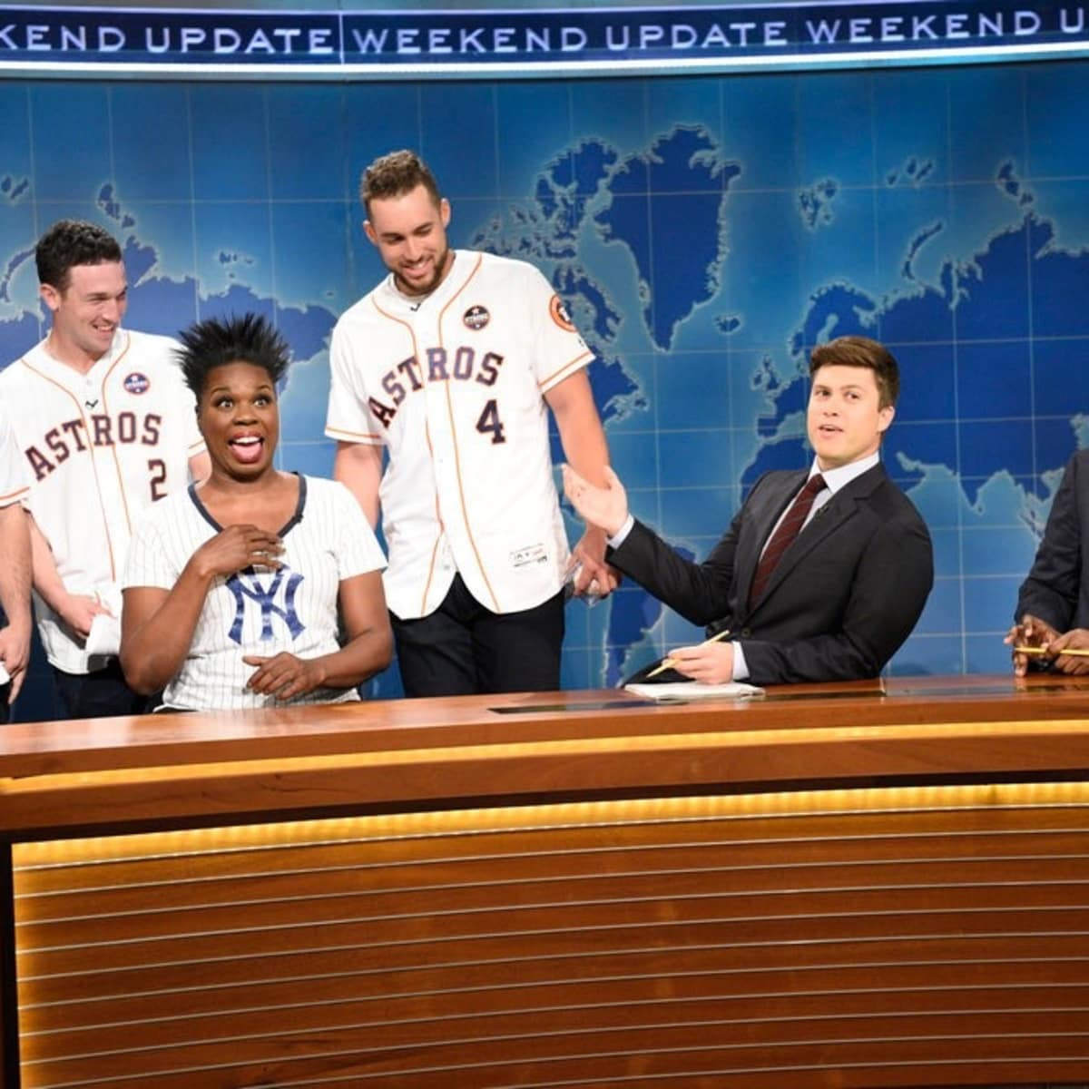"José Altuve, Alex Bregman, George Springer,Leslie Jones, Colin Jost, Michael Che on Saturday Night Live ""Weekend Update"""