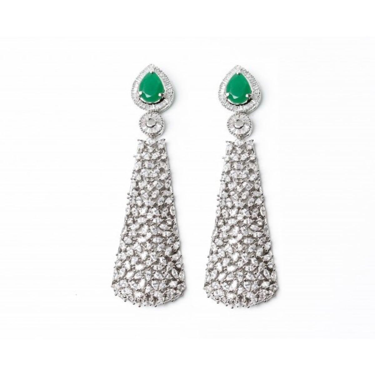 Maheen emerald cubic zircon earrings, Holiday Pop-up 2017