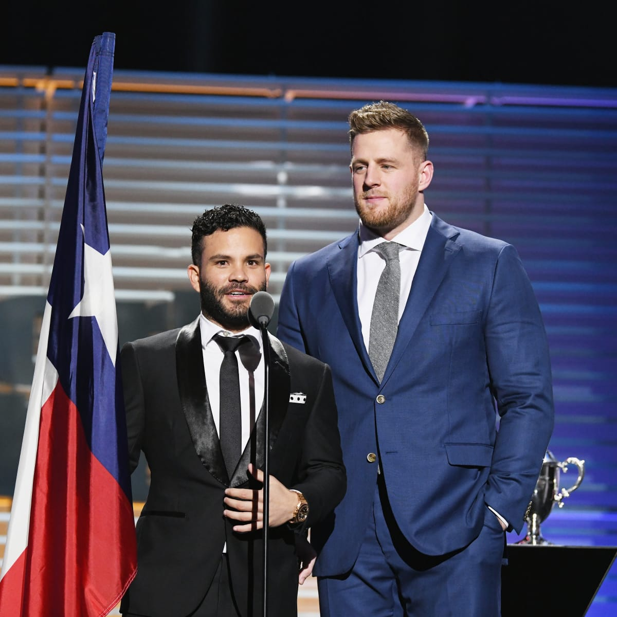 Jose Altuve and JJ Watt repping Texas with Texas flag