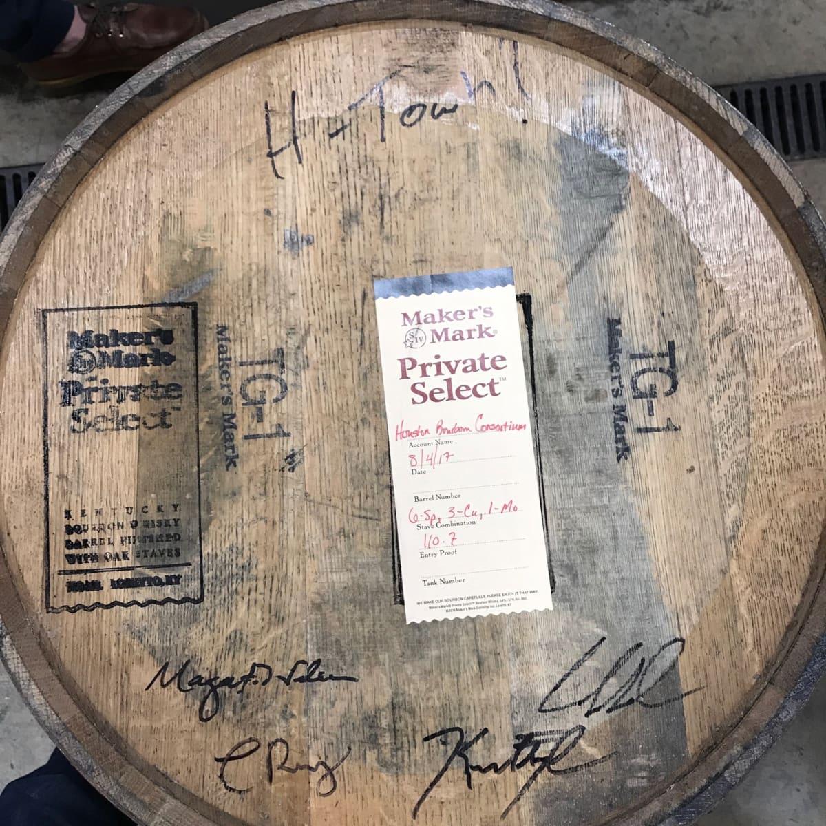 Houston Bourbon Consortium Maker's Mark barrel