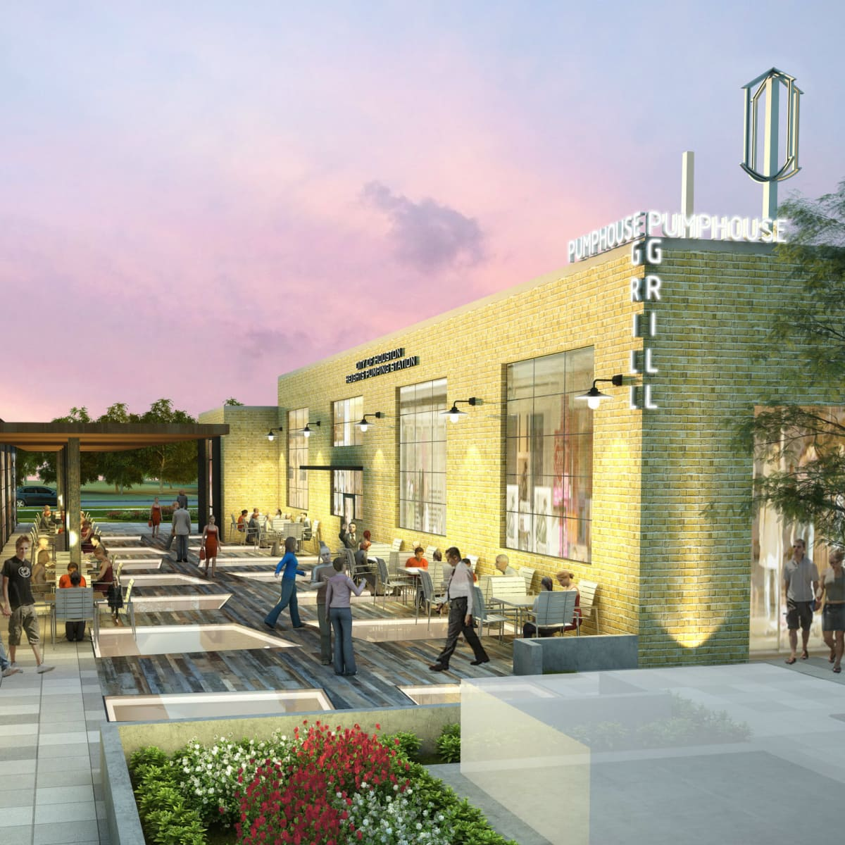 Heights Waterworks exterior rendering shoppers courtyard restaurant