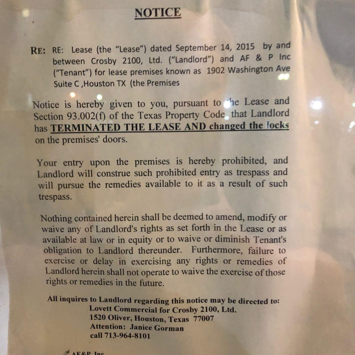 Kukuri lockout notice