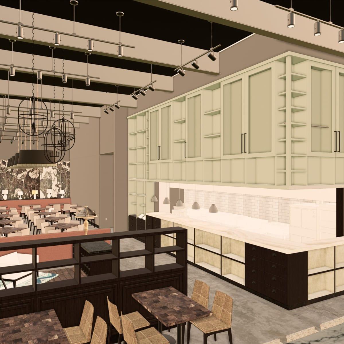 Jonathan's the Rub Memorial Green interior rendering