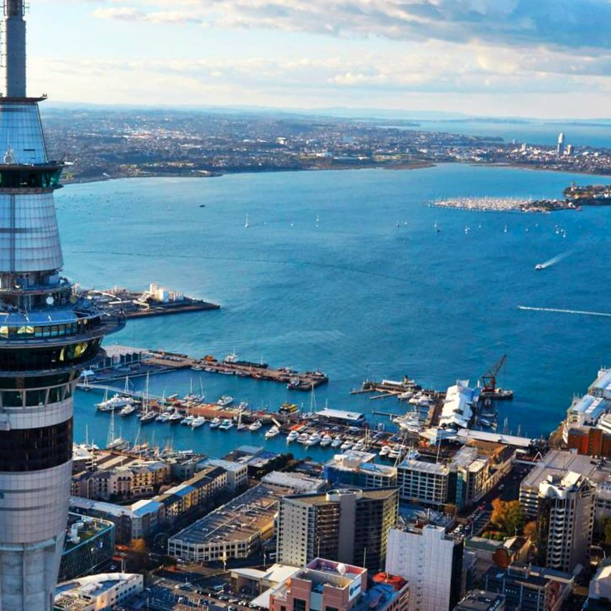 Sky Tower Auckland New Zealand aerial
