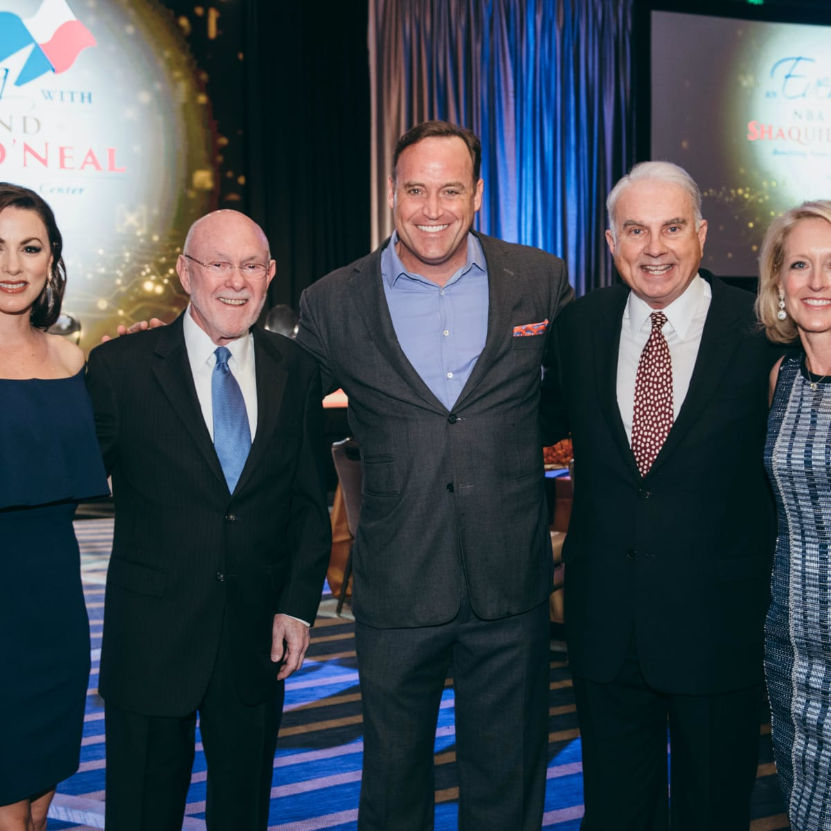 Shaquile O' Neal Event co-chair Julie Bergen, Texas Children's Cancer Center Director Dr. David Poplack, Matt Iseman, Texas Children's Hospital President and CEO Mark A. Wallace and event co-chair Kathy Zay