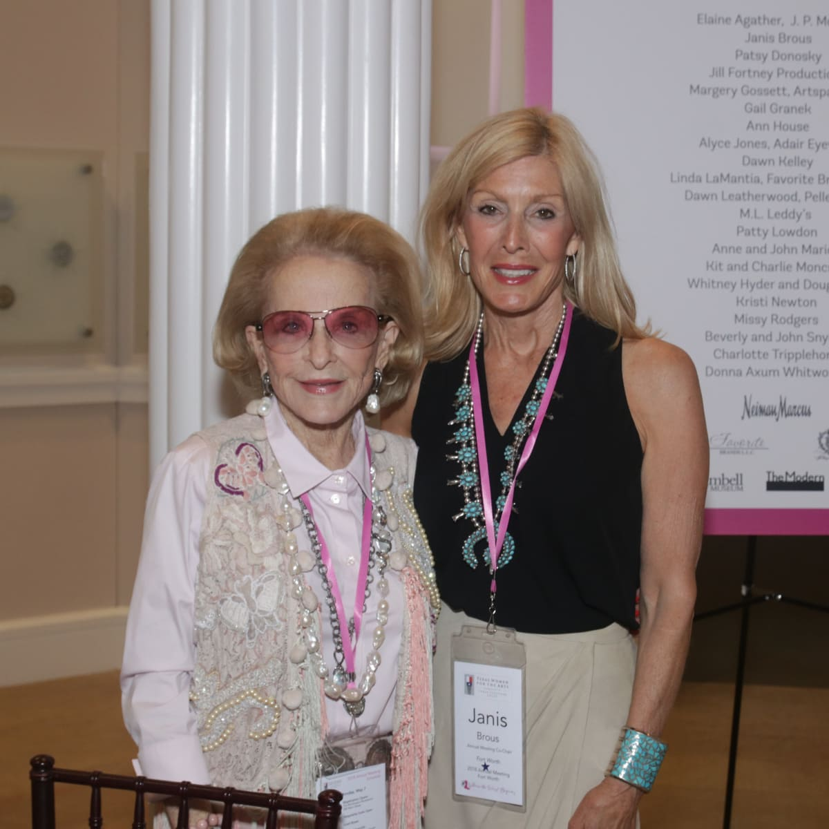 Texas Women for the Arts, Nancy Dedman (Dallas) and Janis Brous (TWA Annual Meeting Co-Chair, Fort Worth)