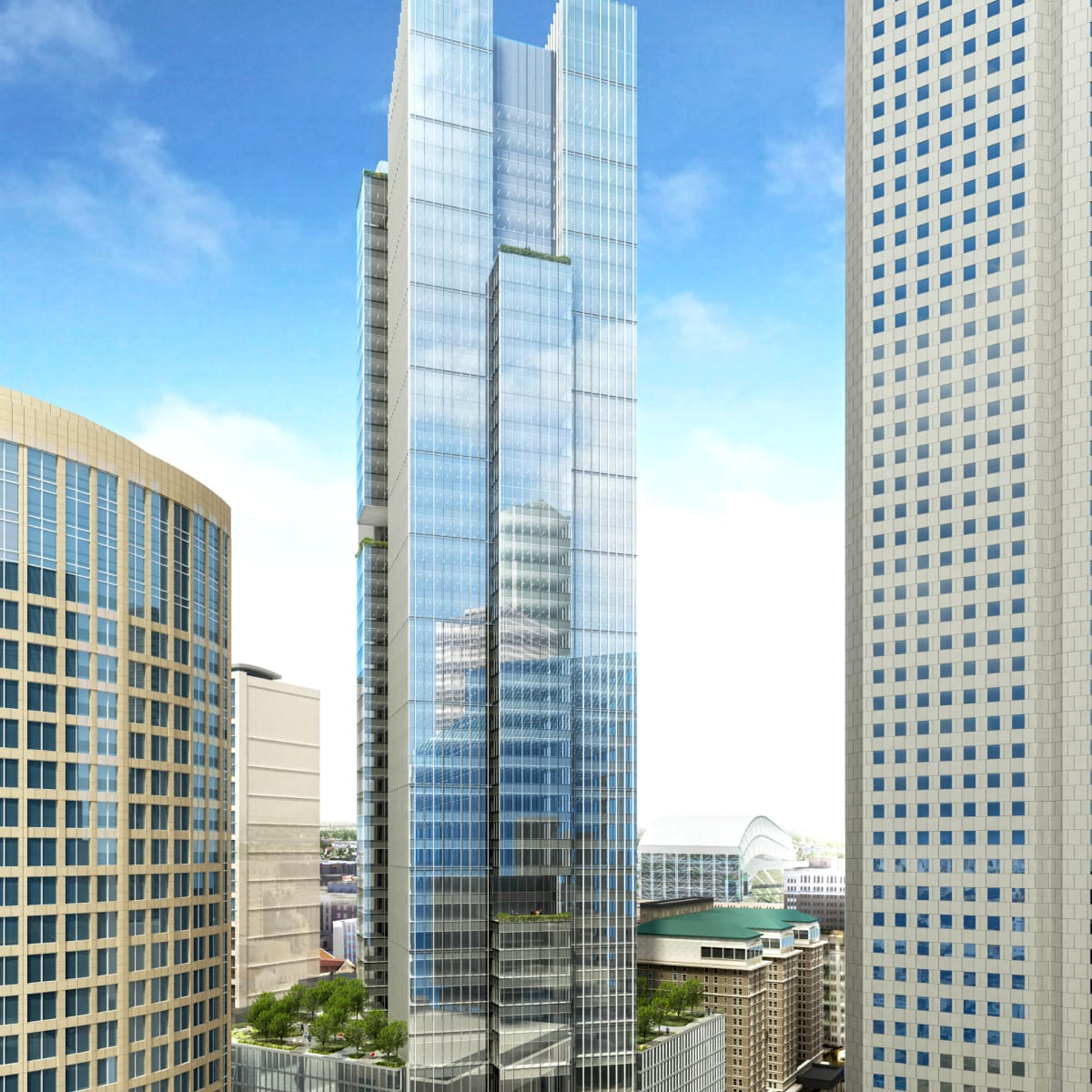 hines tower houston chronicle building full view