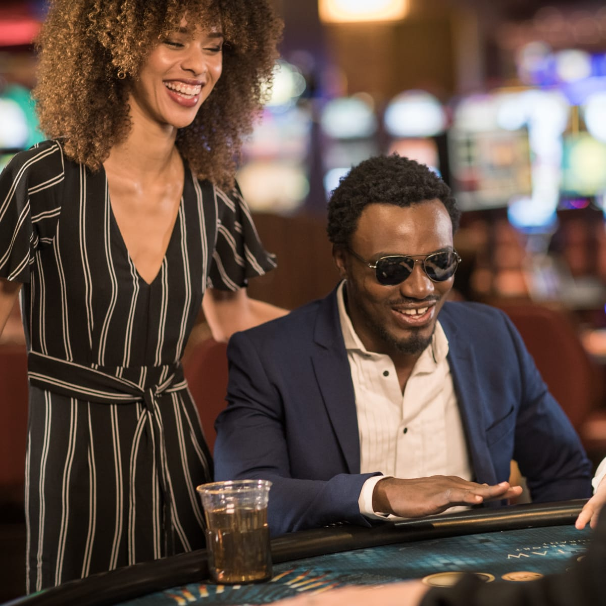 Couple playing at a casino