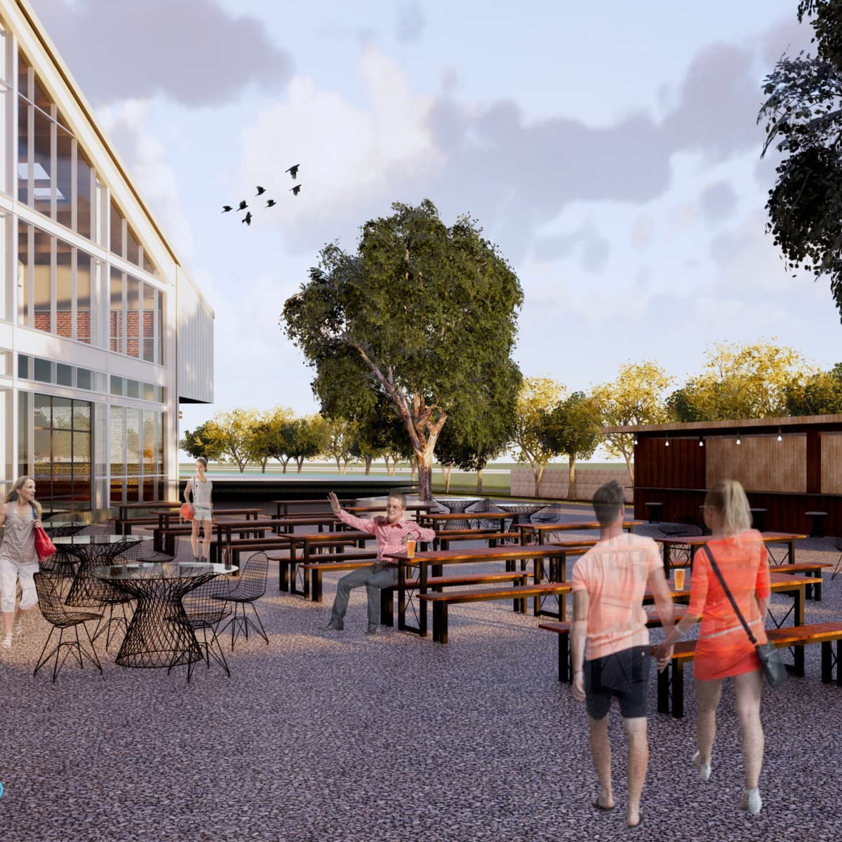 Railway Heights beer garden rendering