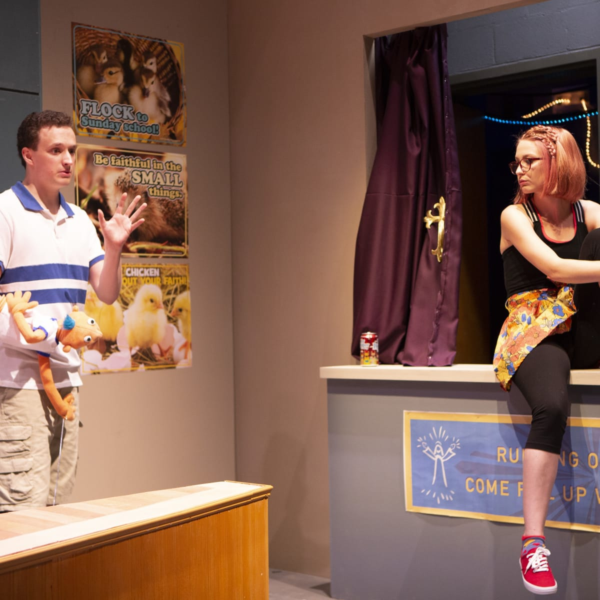 Parker Gray and Debbie Ruegsegger in Hand to God at WaterTower Theatre