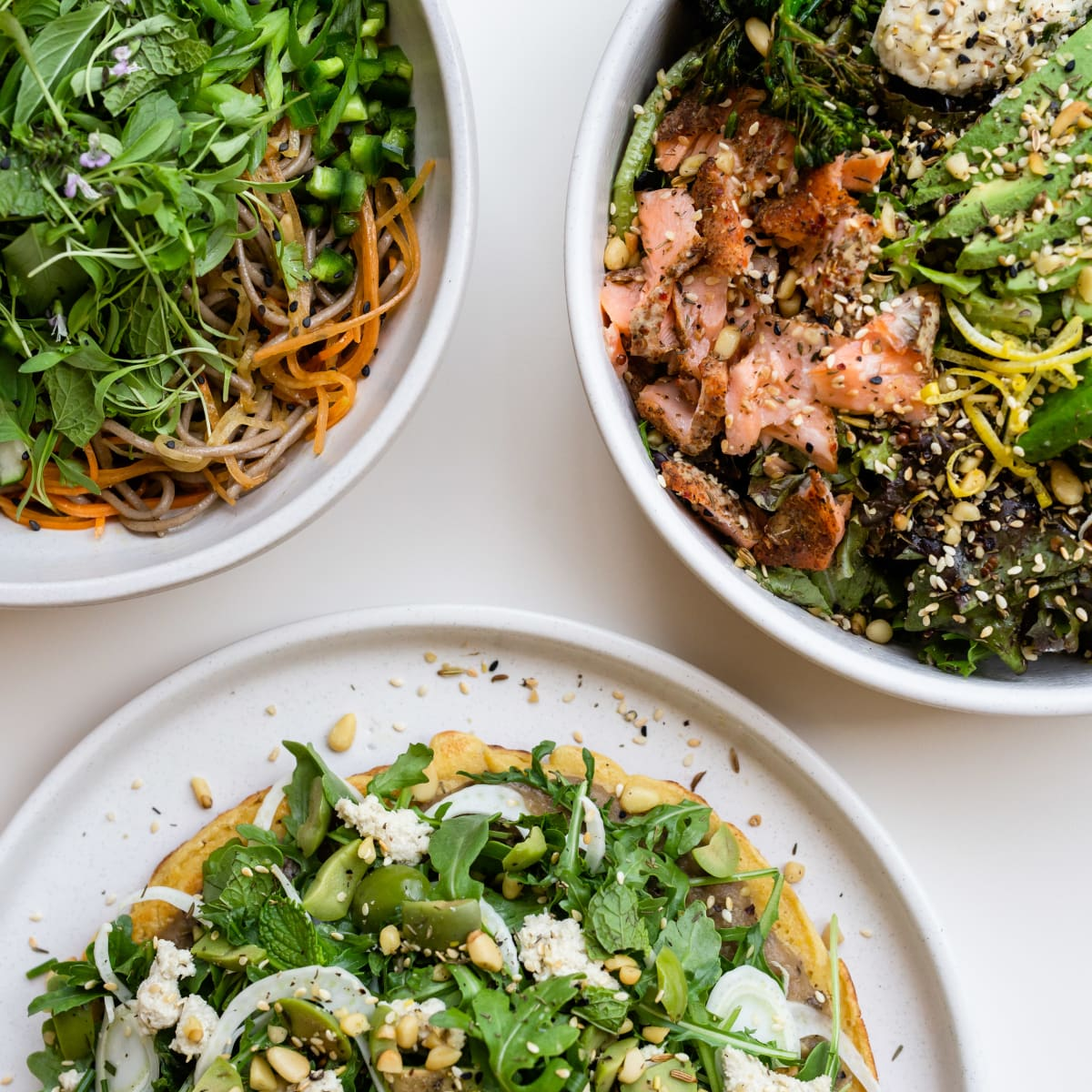 Vibrant Lunch Soba Noodle Salad, Salmon Rice Bowl, Za'atar Socca
