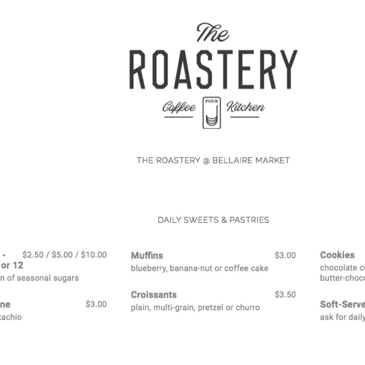 The Roaster Bellaire HEB menu screen shot