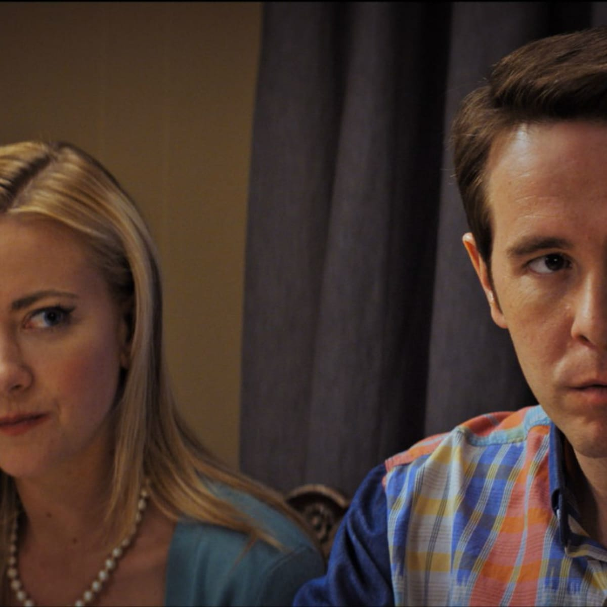 Meredith Hagner and Jon Barinholtz in The Oath
