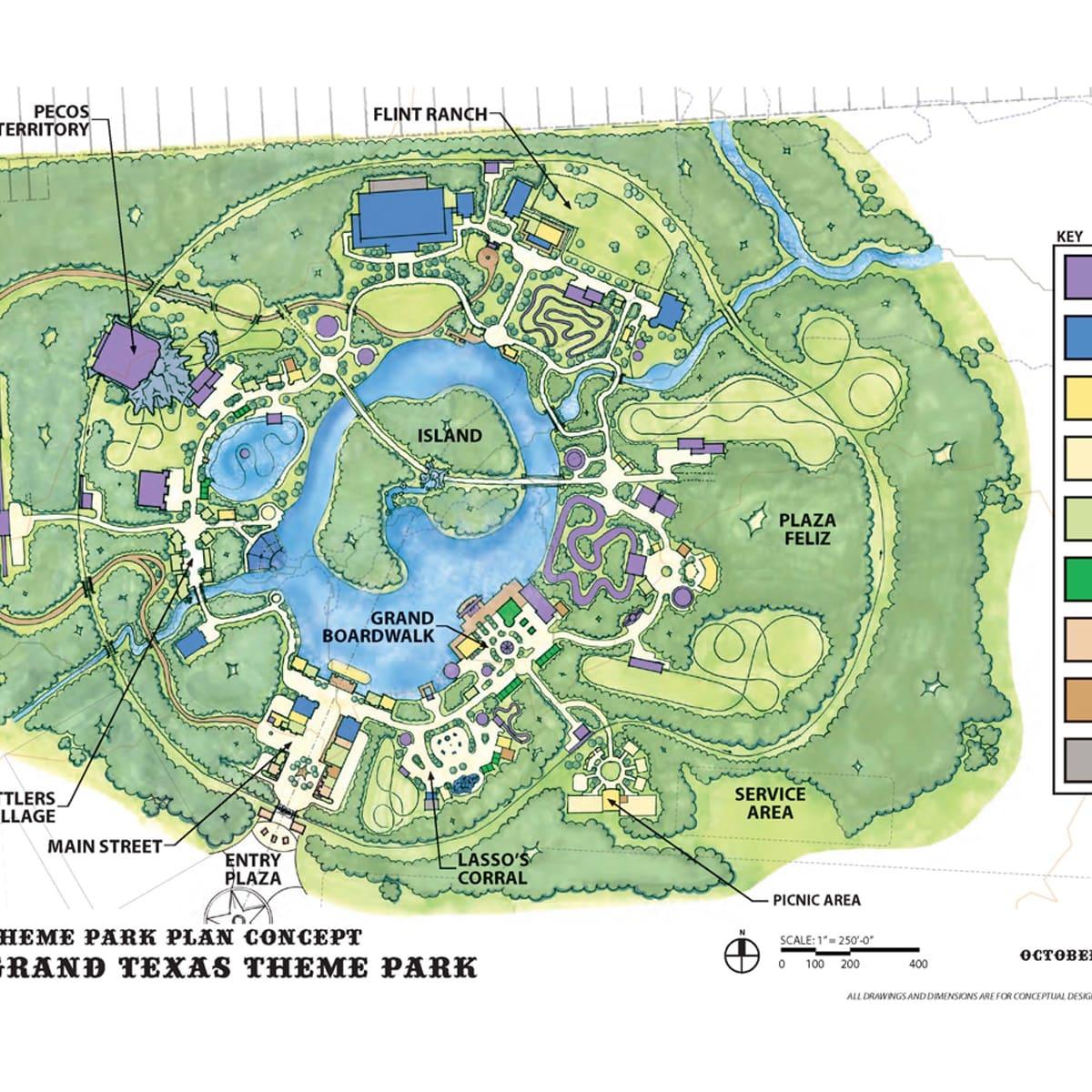 Grand Texas theme park plan concept